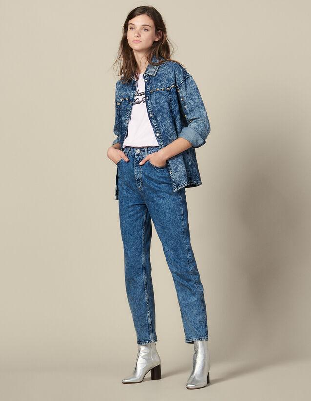 Chemise En Jean Ornée De Studs : Tops & Chemises couleur Blue Night - Denim
