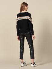 Pullover con grande decorazione a righe : Maglieria & Cardigan colore Nero