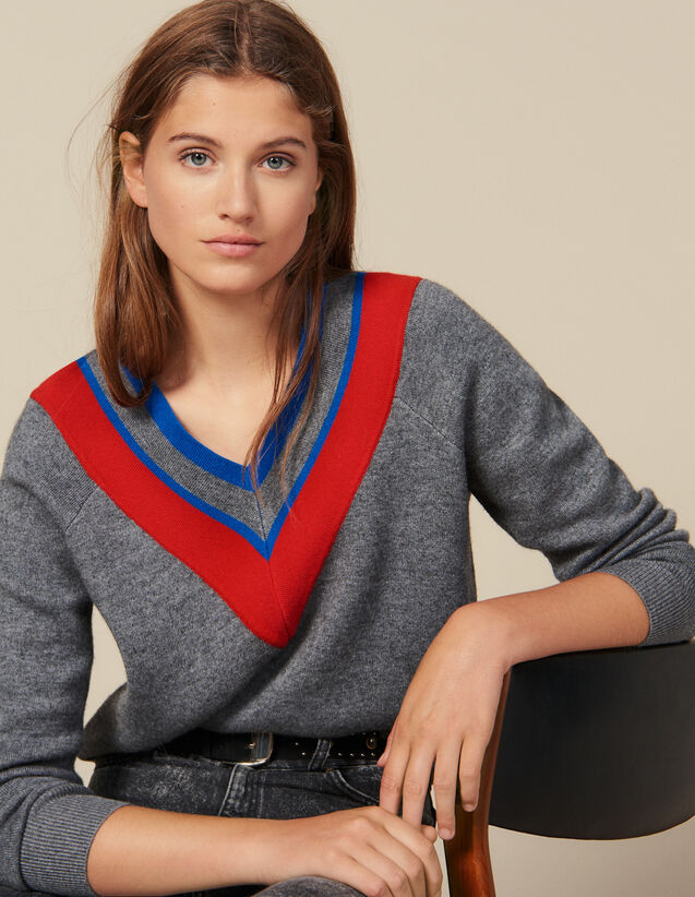 Pullover Scollato Con Decorazione : Maglieria & Cardigan colore Grigio