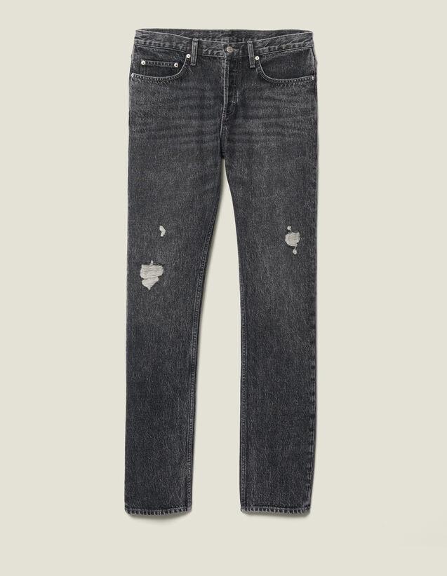 Jean Slim Délavé Sans Stretch : Jeans couleur Black - Denim
