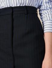 Giacca Da Tailleur Corta A Righe Sottili : Gonne & Short colore Nero