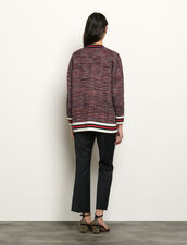 Cardigan stile tweed con decori a righe : Maglieria & Cardigan colore Blu/Rosso