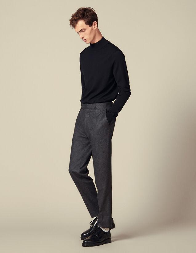 Pantalon En Flanelle Coupe Carotte : Pantalons & Shorts couleur Gris Chiné