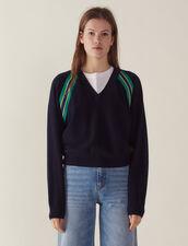 Pullover Decorato A Maniche Lunghe : LastChance-CH-FSelection-Pap&Access colore Blu Marino