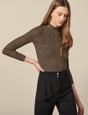 Pullover In Maglia Lurex A Coste : LastChance-ES-F30 colore Oro