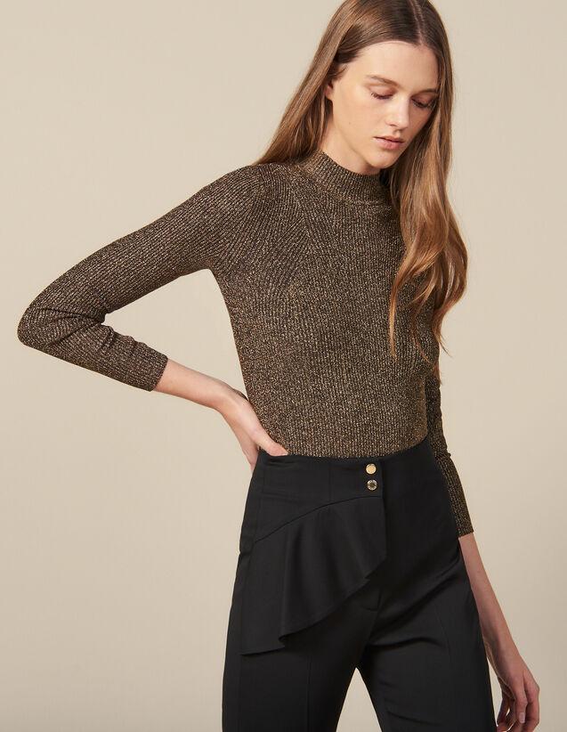 Pullover In Maglia Lurex A Coste : Maglieria & Cardigan colore Oro