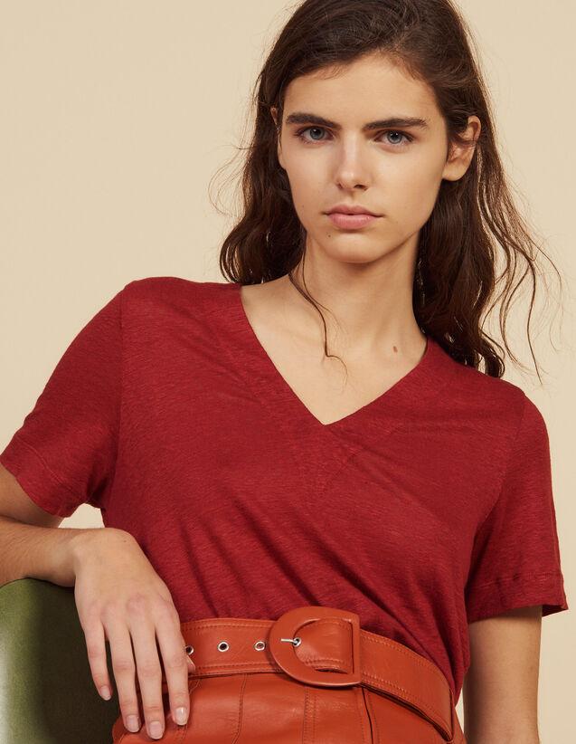 T-Shirt In Lino A Maniche Corte : Magliette colore Terracotta