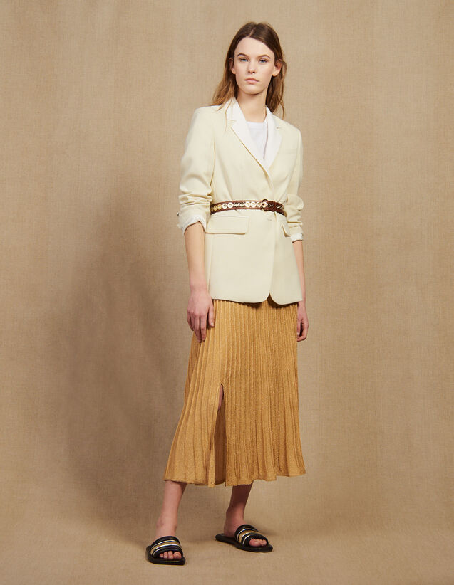 Veste De Tailleur À Col Contrasté : LastChance-FR-FSelection couleur Ecru