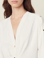 Robe Courte Ornée De Pressions Dorées : Robes couleur Marine