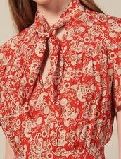 Robe à manches courtes imprimée : Robes couleur Rouge