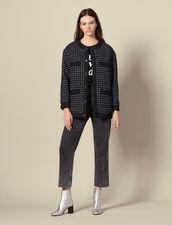 Giubbotto oversize in tweed matelassé : Giacche & Giubbotti colore Blu Marino