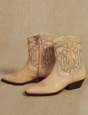 Stivali Texani In Pelle Con Ricami : Collezione Estiva colore Sabbia