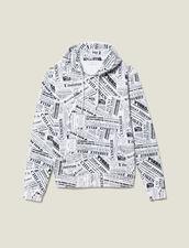 Felpa Con Cappuccio E Stampa Giornale : -50% colore Bianco/Nero