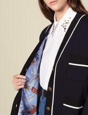 Cardigan-cappotto con fodera stampata : LastChance-ES-F20 colore Blu Marino