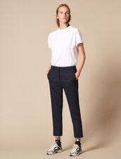 Pantaloni Tinta Unita Con Pince : Pantaloni colore Blu Marino