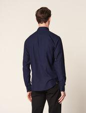 Camicia In Tessuto Chevron Tono Su Tono : LastChance-CH-HSelection-Pap&Access colore Blu Marino
