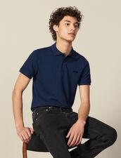 Polo En Coton À Message : HCollectionHiver couleur Bleu