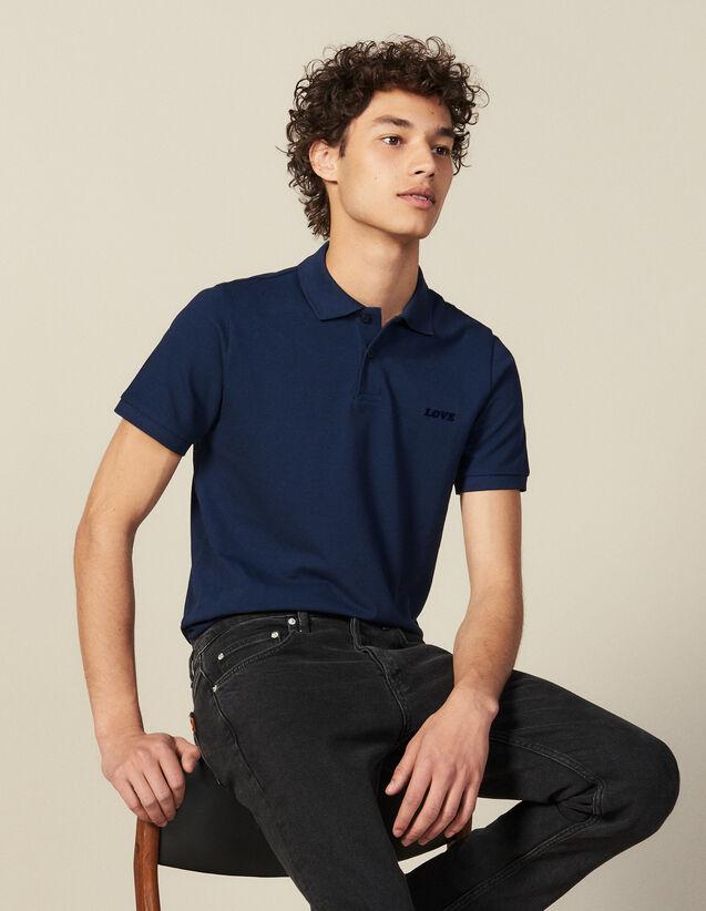 Polo In Cotone Con Scritta : Collezione Invernale colore Blu
