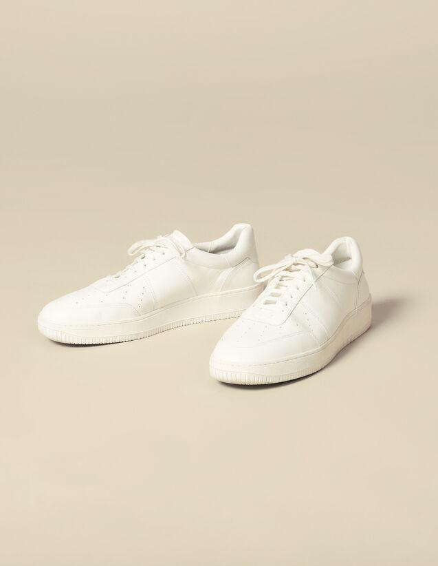 Sneaker In Pelle Tinta Unita : Scarpe colore Bianco