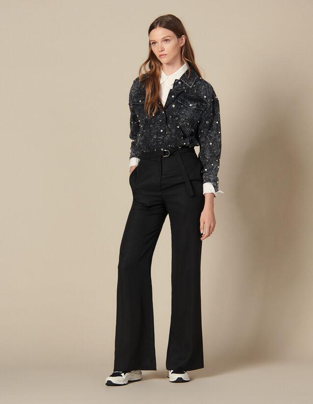 Pantaloni larghi a vita alta : FBlackFriday-FR-FSelection-30 colore Nero