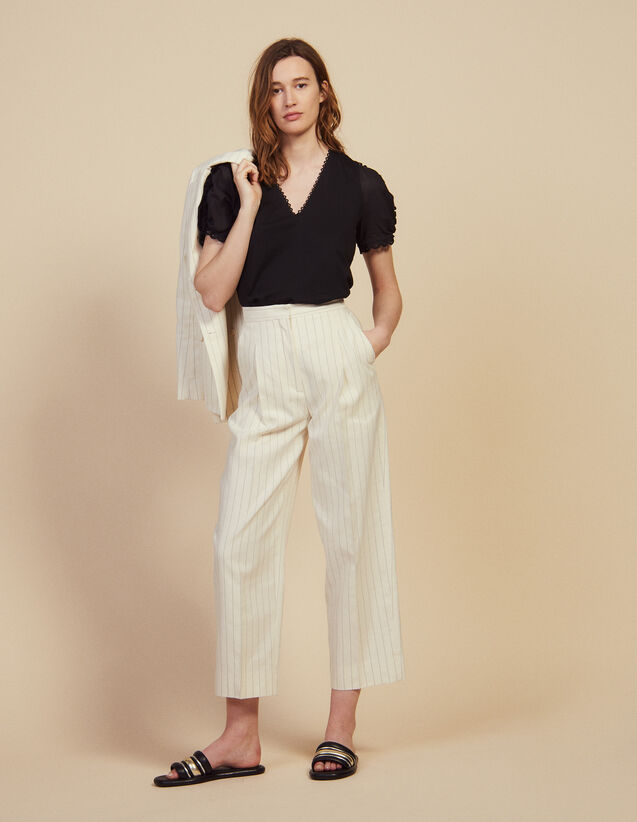 Pantalon De Tailleur Au Fit Large : null couleur blanc