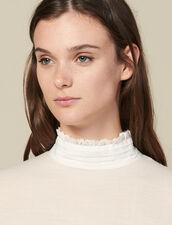 Pullover A Collo Alto Con Seta Plissé : LastChance-ES-F40 colore Nudo