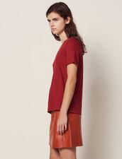 T-Shirt In Lino A Maniche Corte : null colore Terracotta