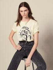 T-shirt con ricamo a contrasto : Magliette colore Giallo pallido