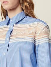 Camicia A Righe Con Inserto In Pizzo : null colore Blu
