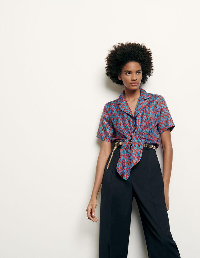 Camicia pigiama in seta stampata : Collezione Estiva colore Blu/Rosso