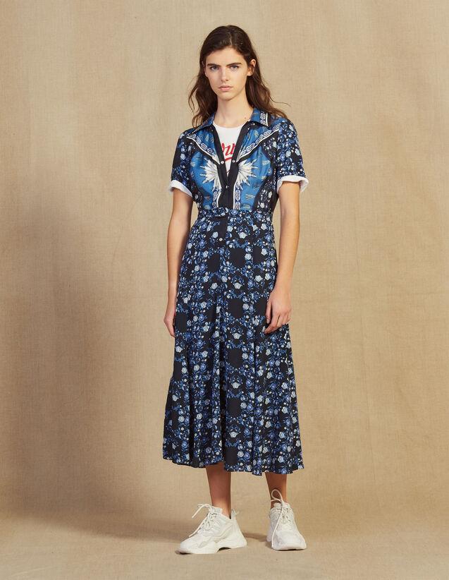 Robe Chemise Longue Fluide Imprimée : Robes couleur Bleu