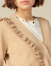 Cardigan Con Volant Asimmetrico : Maglieria & Cardigan colore Cammello