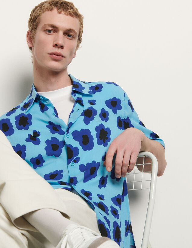 Chemise à manches courtes imprimée : Chemises couleur Jaune