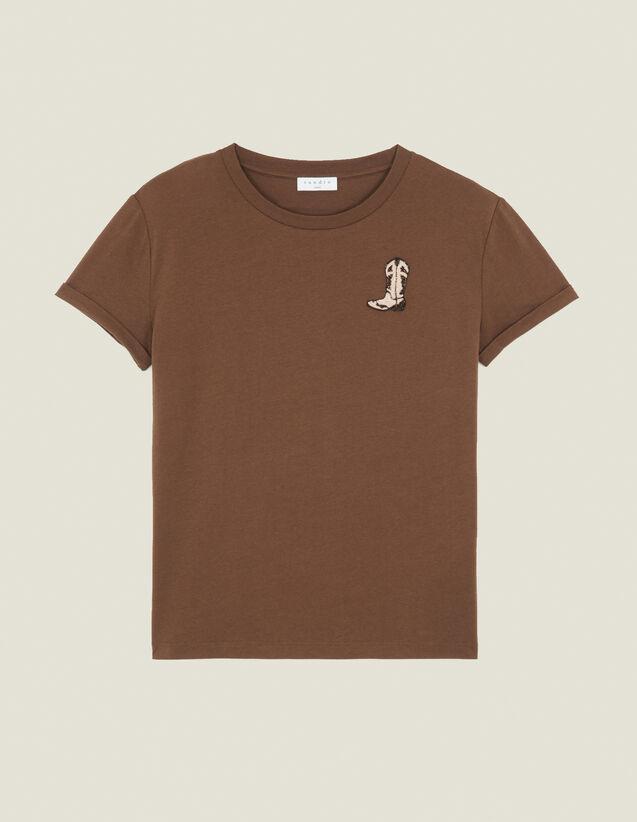 T-Shirt Con Applicazione Stivali : LastChance-ES-F50 colore Cachi
