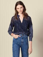 Top in popeline a righe e pizzo : Top & Camicie colore Blu Marino