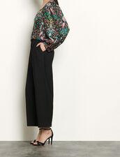 Top in seta stampata : Top & Camicie colore Nero