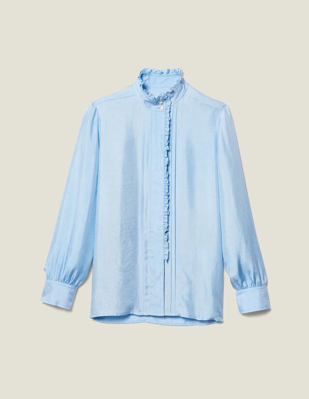 Camicia In Seta Bordata Di Volant : LastChance-ES-F40 colore Ciel