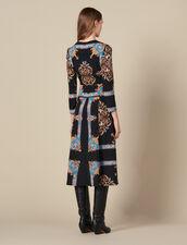 Abito lungo con stampa foulard piazzata : Abiti colore Nero