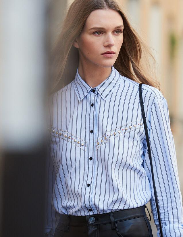 Camicia In Popeline A Righe : Top & Camicie colore Ciel