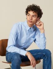 Camicia A Righe Con Taschino : Collezione Invernale colore Blu/bianco