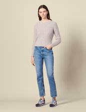 Pullover Girocollo In Maglia Perlata : Maglieria & Cardigan colore Grigio