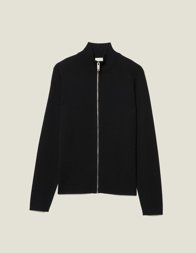 Cardigan in lana con zip : -40% colore Nero