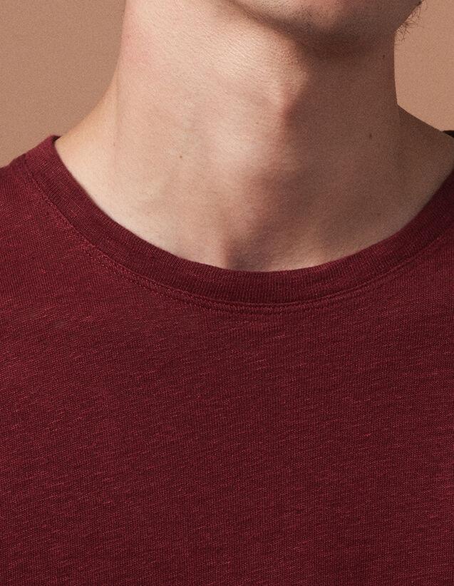 T-Shirt In Lino : Magliette & Polos colore BORDEAUX SCURO