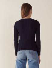 Pullover A Maniche Lunghe In Cotone : null colore Blu Marino