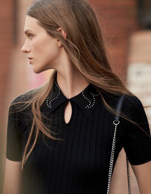 Polo À Col Bijou : Pulls & Cardigans couleur Noir