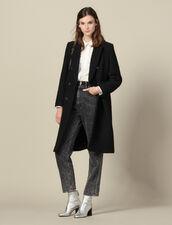 Cappotto lungo aderente in tweed : Cappotti colore Nero