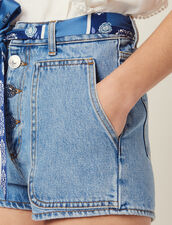 Short In Jeans Con Cintura Foulard : null colore Blue Vintage - Denim
