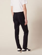 Pantaloni Da Completo In Lana Panama : SOLDES-CH-HSelection-PAP&ACCESS-2DEM colore Blu Marino