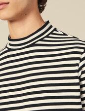 T shirt a righe con collo a lupetto : Magliette & Polo colore Nero/Ecru
