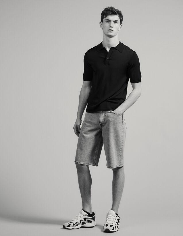 Polo en maille fine manches courtes : T-shirts & Polos couleur Marine